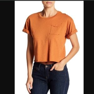 Project Social T Women Rust Cuffed Pocket Tee